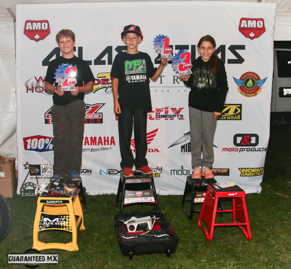 65 7-9 Sponsored by WCK Honda and ZDeno Cycle: 3rd Maya Legare, 2nd Tristan Dares, and AMO Champ Crayden Dillon.