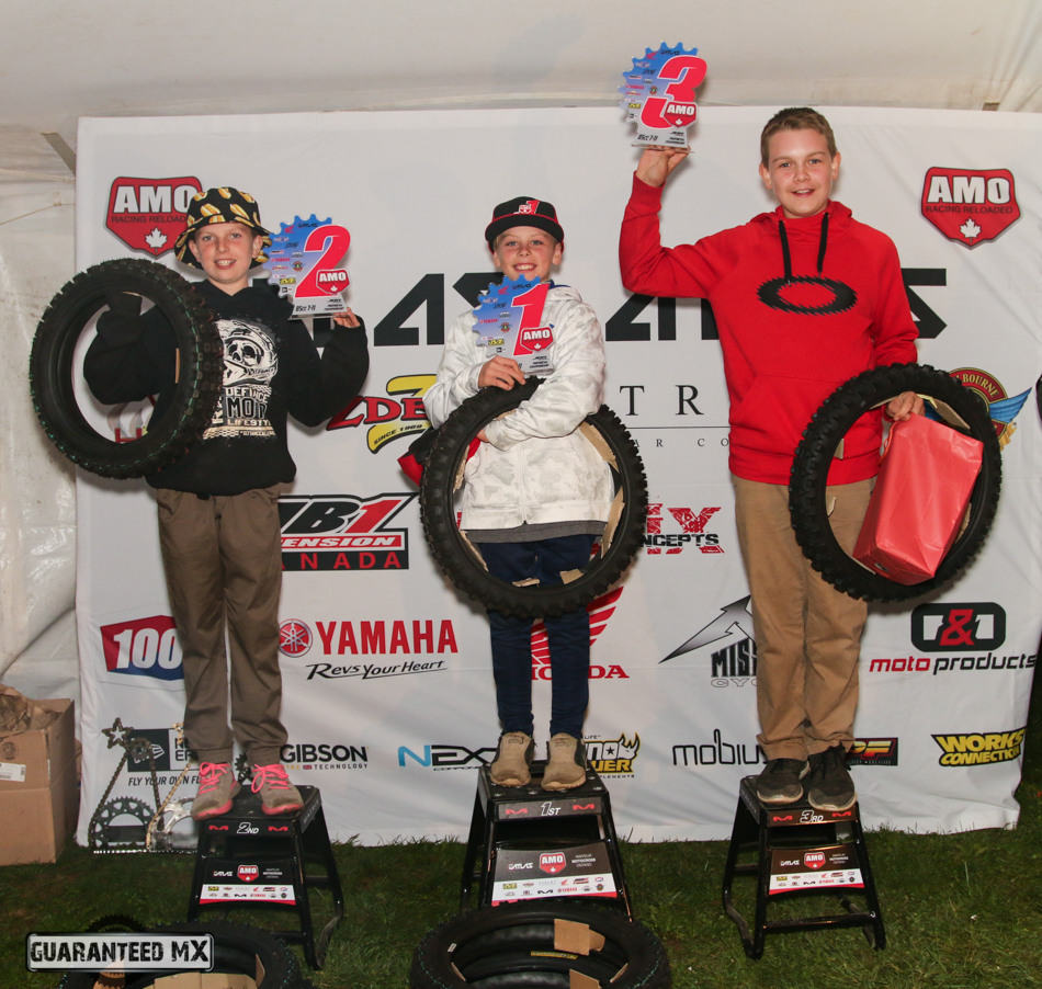 85 7-11 Sponsored by Gibson Tyres: 3rd Logan Baird, 2nd Hunter Scott, and AMO Champ Evan Stewart.