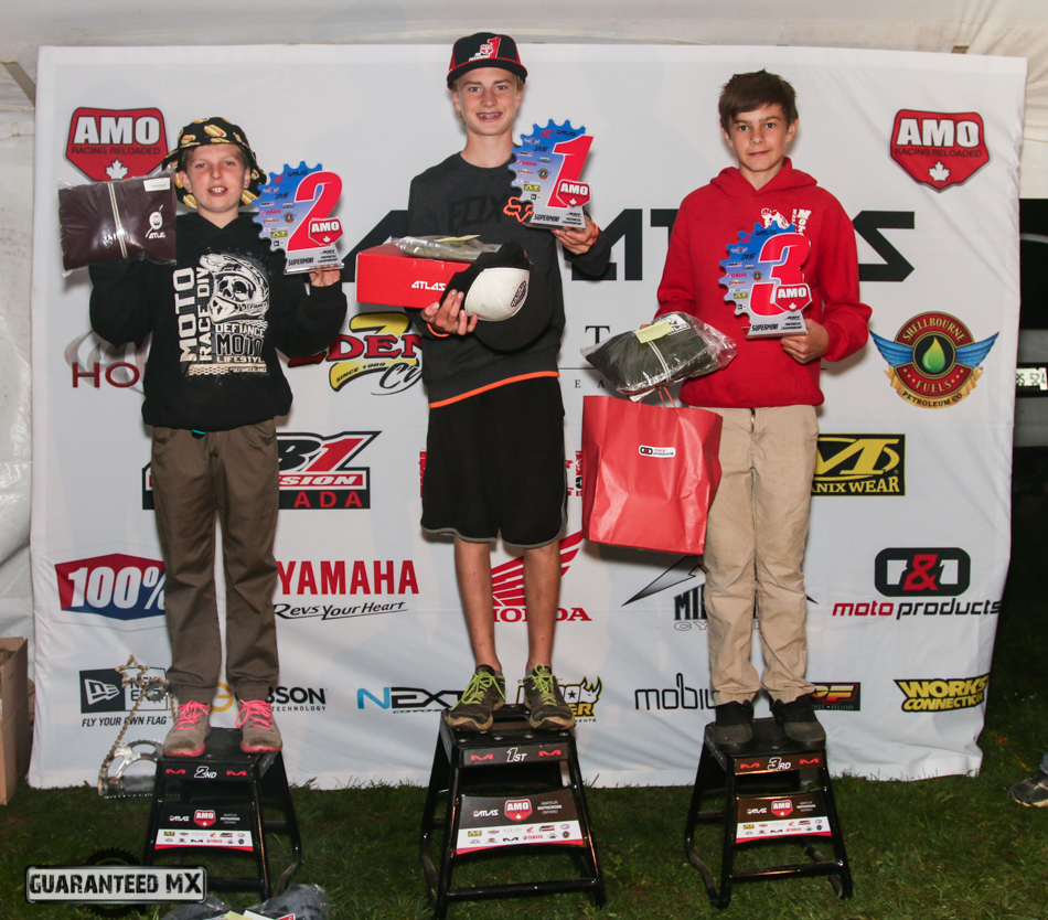 Supermini Sponsored by Atlas Brace: 3rd, Kyle Jones, 2nd Hunter Scott, and AMO Champ Ross Thirnbeck.