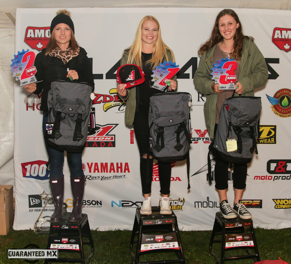 Ladies A Sponsored by New Era: 3rd Emma Saarela, 2nd Shandell Przybilla, and AMO Champ Kelcey Jones.