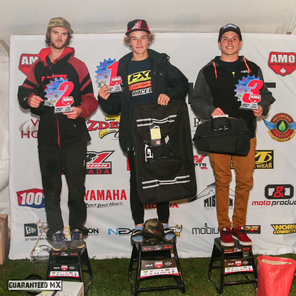 Under 30 Int/Pro Sponsored by WCKHonda and ZDeno Cycle: 3rd Kraig Reinhart, 2nd Drew Roberts, and AMO Champ Austin Watling.