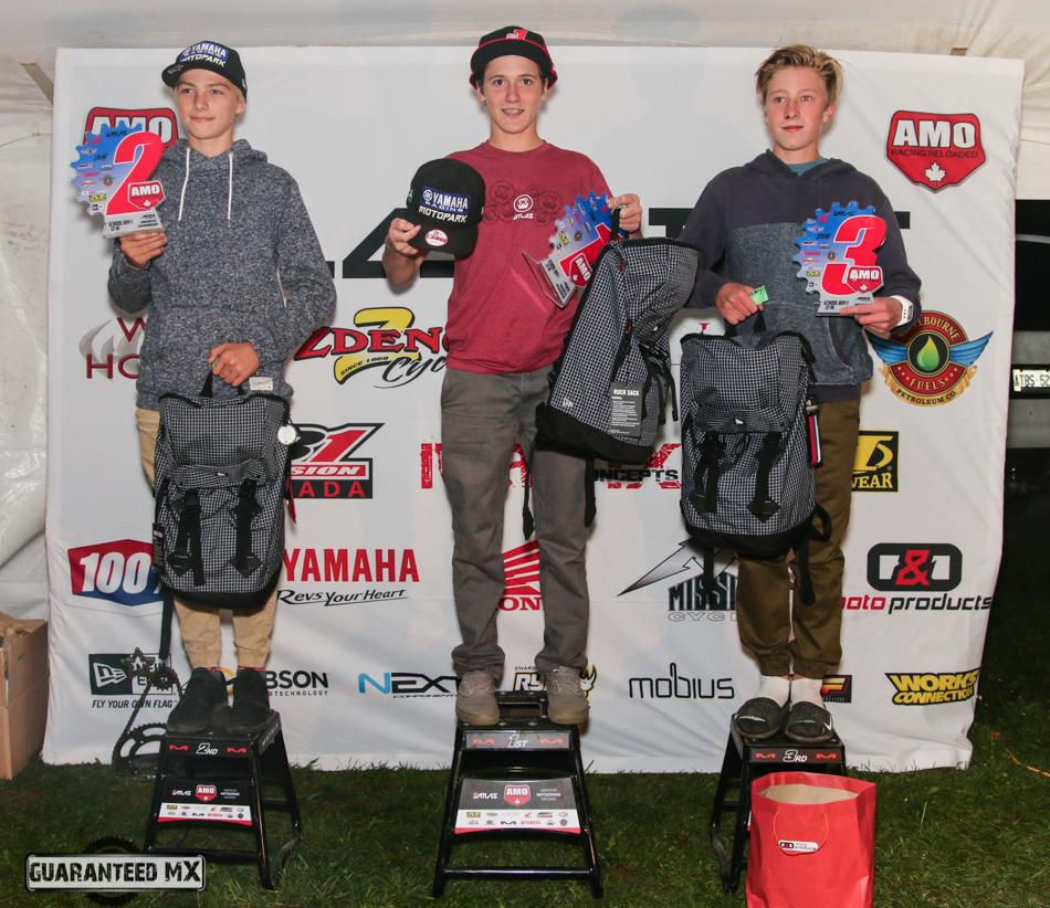 Schoolboy 1 Sponsored by New Era: 3rd Austin Tremblay, 2nd Jake Tricco, and AMo Champ Sam Gaynor.