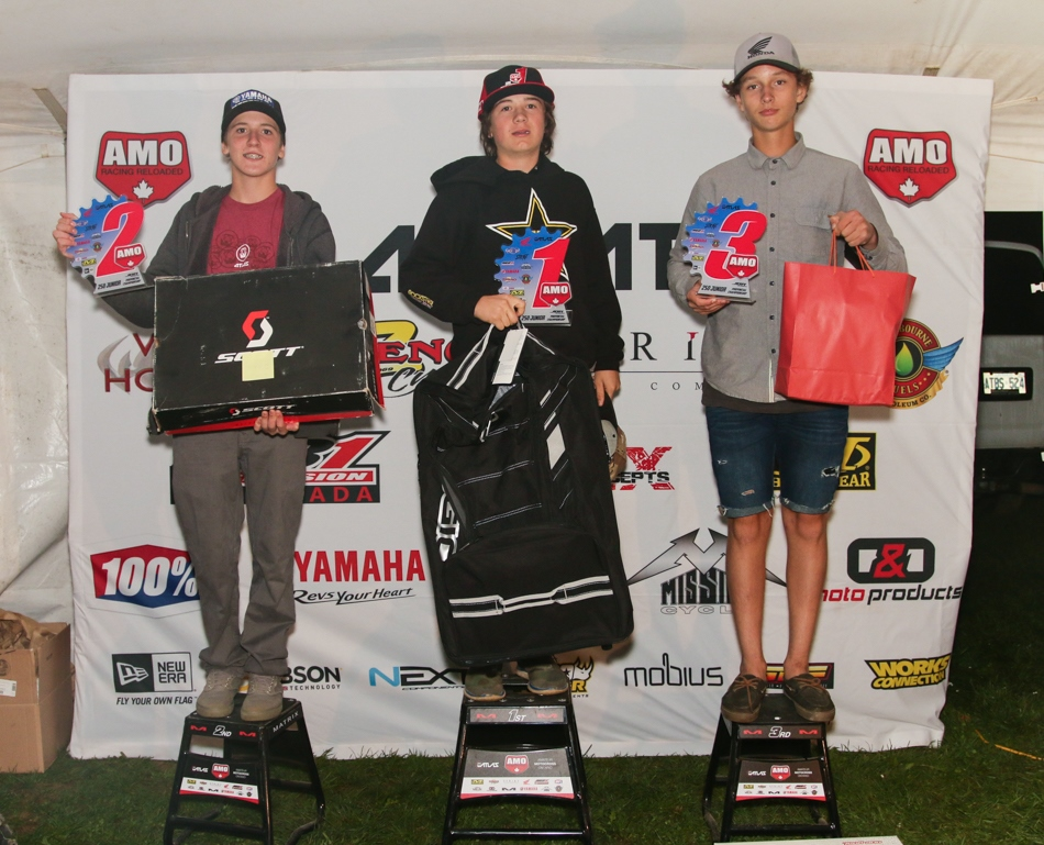 250 Junior Sponsored by ZDeno Cycle and WCK Honda: 3rd Seth McDowell, 2nd Sam Gaynor, and AMO Champ Tyler Evanitski.