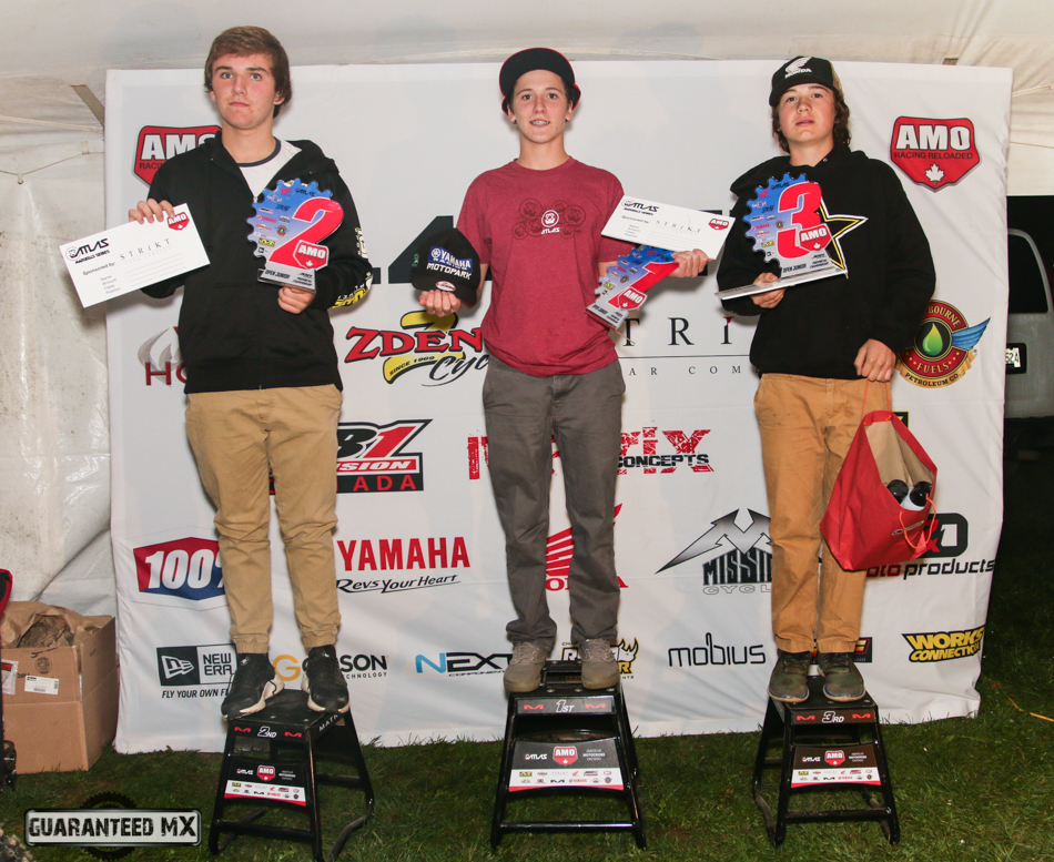Open Junior Sponsored by Strikt Gear: 3rd Tyler Evanitski, 2nd Cory Sullivan, and AMO Champ Sam Gaynor.