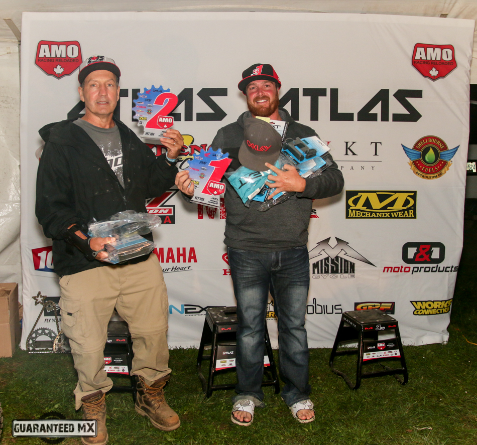 Vet 30 A Sponsored by Next Components: 3rd Tim Martin (not Shown), 2nd Michael Dissimino, and AMO Champ Kyle Keast. (I don't think you could have two different looking racers in this picture, LOL)