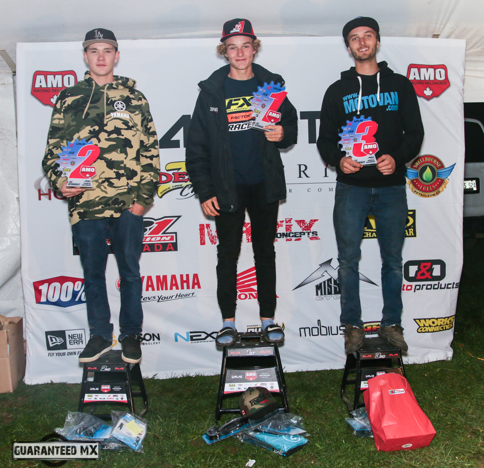 250 Intermediate Sponsored by Next Components: 3rd Davin Grose, 2nd Kyle Brown, and AMO Champ Austin Watling