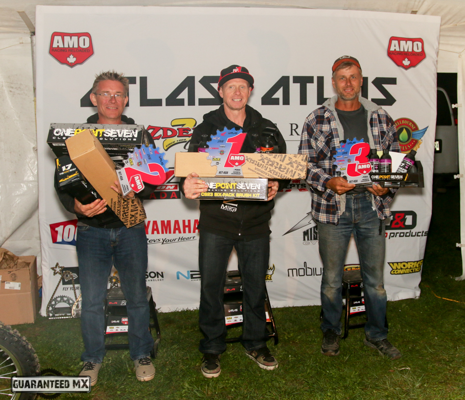 Plus 40 A sponsored by 1.7 Solutions: 3rd Robert Bryan, 2nd Jason Baird, and AMO Champ Drew Ness