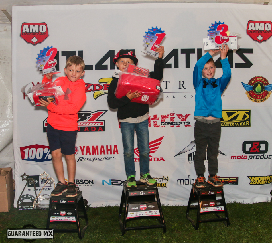 50cc 4-6 Sponsored by 100%: 3rd Cooper Wallis, 2nd Brennen Brulotte, and AMO Champ Tyler Booy