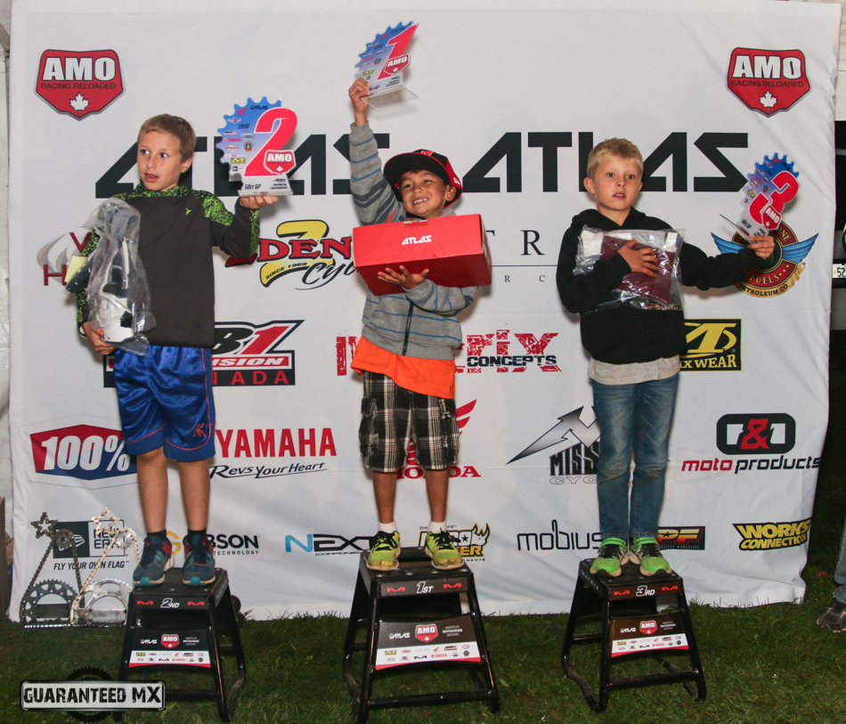50cc GP Sponsored by Atlas Brace: 3rd Tyler Booy, 2nd Riley Reed, and AMO Champ Ben Kongmany